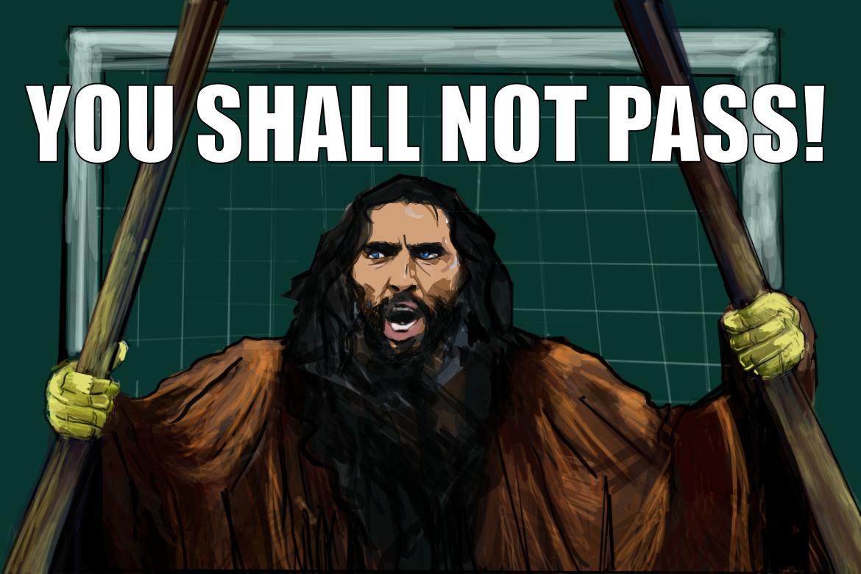 Gianluigi Buffon broni bramki jak Gandalf Szary hobbitów przed Balrogiem.