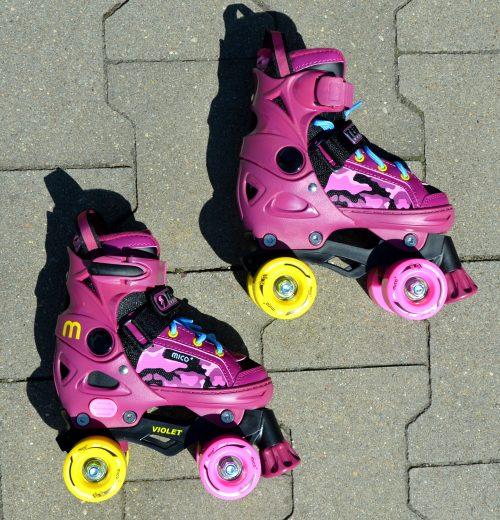 różowe wrotki dziewczęce Mico
