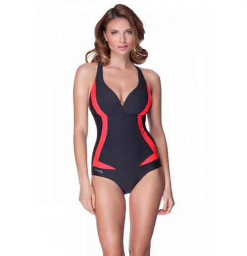 strój kąpielowy, kostium damski aqua speed grafitowo-czerwony